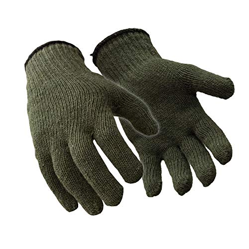 RefrigiWear Military Style Ragg Wool Glove Liners (Green, Large/X-Large) - PACK OF 12 PAIRS