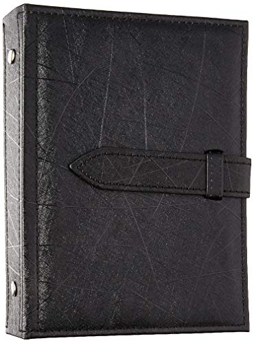 Csinos Organizer, Portable Travel Jewelry Case Pu Leather Earring Holder with Book Design (Black), Medium