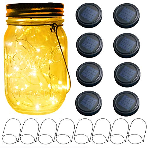 Vknic Solar Mason Jar Lid Lights, 8-Pack 30 LEDs Fairy Firefly String Lid Lights(No Jars), Fits Regular Mouth Mason Jars Wedding Yard Garden Lighting Decor,Warm White Lighting,Black Lid Tops