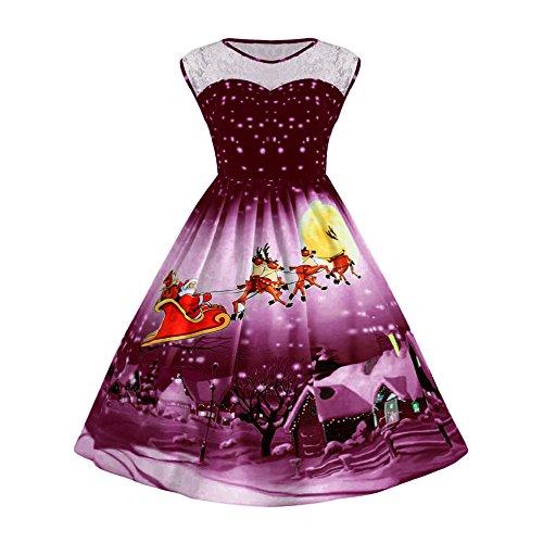 TEBAISE Damen Weihnachten Kleid Frauen Vintage Weihnachten Gedruckt Kurzarm A-Linie Swing Kleid Weihnachten Kleid Retro Ärmellos Kurz Brautjungfern Kleid Spitzenkleid Abendkleider Partykleid