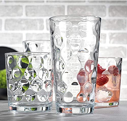 Attractive Durable Drinking Glasses, Set of 16 Clear Glass Cups, 8 Highball Glasses (17oz) 8 Rocks...