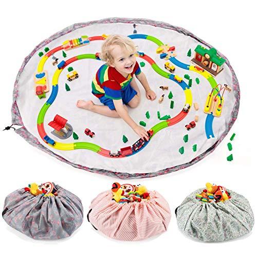 all Kids United Sac de rangement pour jouets pour enfants - Diamètre : 140 cm - Sac de rangement et couverture de jeu - Flamants roses (bleu)