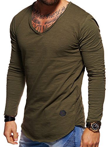behype. Herren Langarm Basic Longsleeve V-Neck T-Shirt 30-3741 Khaki M
