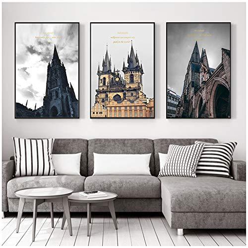 LingYuKeJi Neoklassizistische Burgarchitektur Leinwandmalerei Nordische Kunst Mode Bild Wohnkultur Wohnzimmer Schlafzimmer Dekor Malerei 40x60cm (15,7
