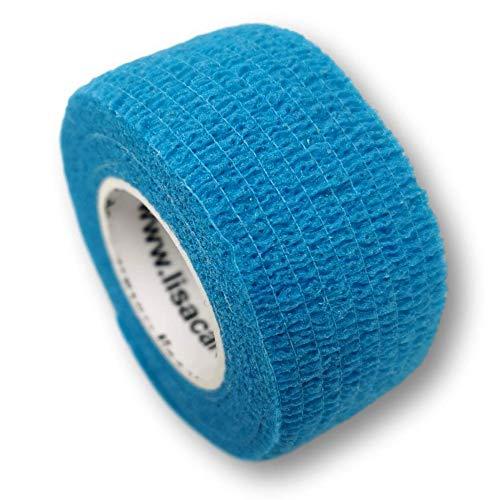 LisaCare Pflasterverband, Wundpflaster, Kinderpflaster, Pflaster auf Rolle, elastisch & ohne Kleber, 2,5cm breit (5er Packung, Hellblau)