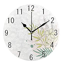 Flower Silent Round Wall Clock, Floral Non-Ticking Decorative Battery Operated Quiet Clock for Living Room Home Office School Kitchen,Small, 9 Incl Desk Clock