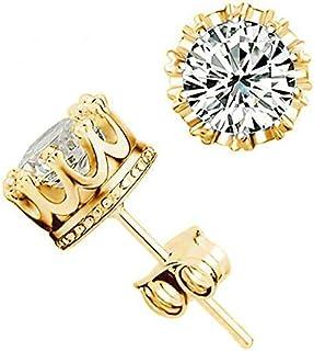 أقراط أذن على شكل تاج للنساء مطلي بالذهب مع حجر كريستال أبيض ماركة ليوتيمي