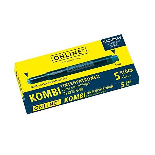 ONLINE Kombi-Tintenpatronen, Universal-Patronen, kompatibel mit allen gängigen Füllern, auch Lamy-Füller, Ersatz-Patronen, nicht löschbar, Schachtel mit 5 Großraum-Patronen, Farbe: Nachtblau