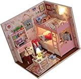 Kit de casa de muñecas 3D Casa de muñecas en Miniatura ensamblada de Madera DIY Mini Sala de Manualidades Hecha a Mano con Muebles y Accesorios Juguetes educativos para niñas-UN