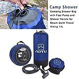 Destinely Douche de Camping Nomade 11L avec Pompe à Pied, Sac de Douche Pliant Portatif Extérieur pour Douche, Douche Solaire...