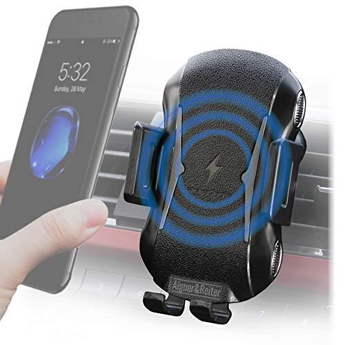 Automatische Auto-Handyhalterung mit Ladefunktion für die Lüftung, KFZ Handy Halterung | induktives Laden am Lüftungsgitter | universal Ladestation für alle Smartphone - iPhone, Samsung, Huawei, usw.