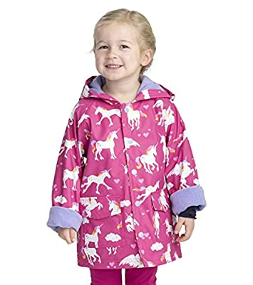 Hatley Girls' Little Printed Raincoats, Rainbow Unicorns, 4 Years