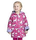 Hatley Printed Raincoats, Chaqueta Impermeable Para Niñas, Rosa (Rainbow Unicorns), 8 años