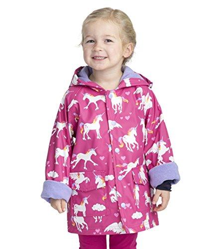 Hatley- Impermeable, estampado, para niña, Unicornios Arco Iris, 10
