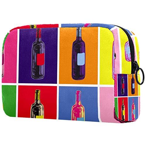 Bolsa de cosméticos para mujeres, botellas de vino y bebidas coloridas estilo pop art colorido, bolsas de maquillaje, accesorios organizador de regalos