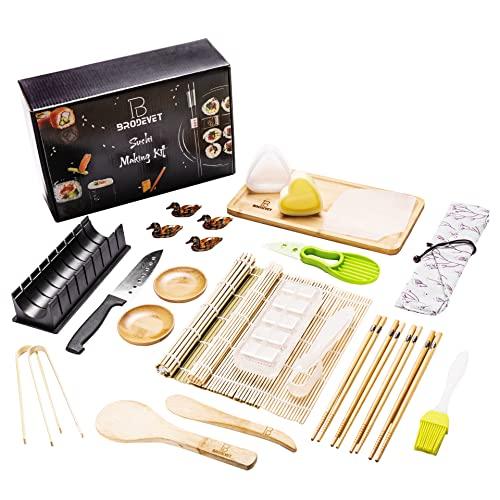 BRODEVET - Kit Sushi Completo NOVITÀ 2021, 28 Pezzi compreso di GUIDA PRATICA, Sushi Kit Professionale, Sushi Fai Da Te Per Principianti, Con Tovagliette, Bacchette, 28,3x9,8x20,2cm