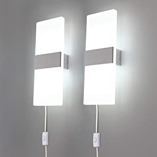 Lightess Modern Wall Sconces Plug in, 12W Up Down LED Wall Lights Acrylic Wall Lamp for Living Room Bedroom Corridor, Cool White, Set of 2