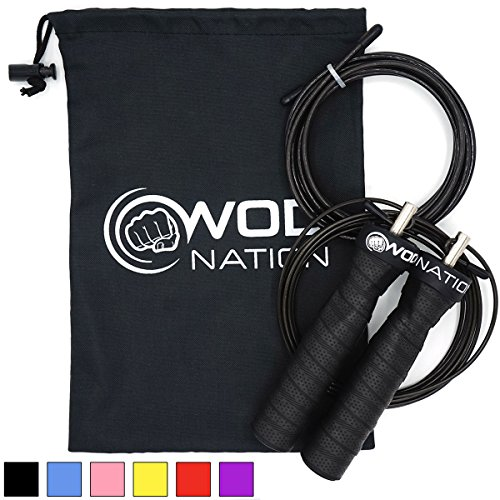 WOD Nation Attack Speed Jump Rope - Adjustable Jumping Ropes - Unique 2 Cable Skipping Workout System - 1 Thick and 1 Light 10' Cable - Perfect for Double Unders - Fits Men and Women