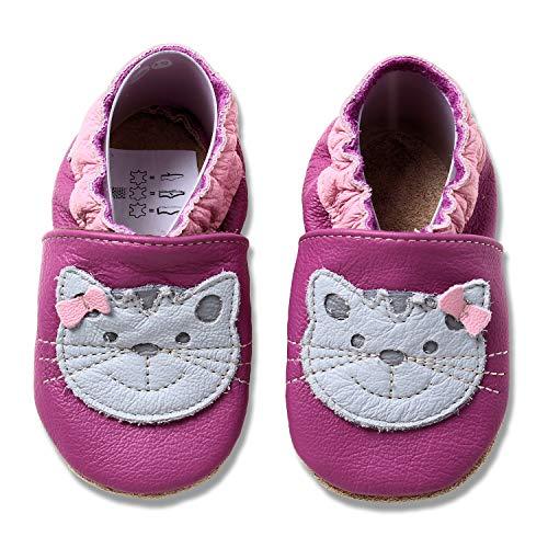 HOBEA-Germany Krabbelschuhe für Mädchen, Schuhgröße:24/25 (24-30 Monate), Modell Schuhe:Katze pink