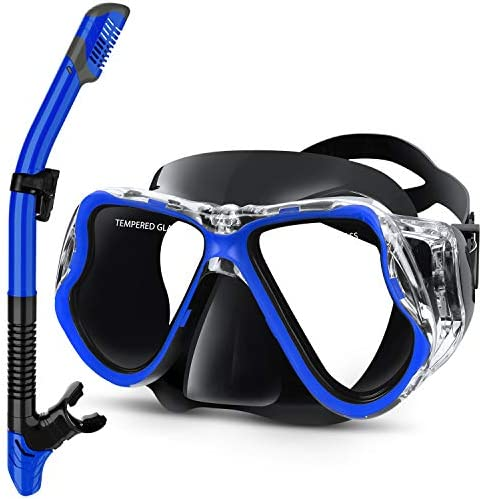 Greatever Dry Snorkel Set Panoramic Wide View Anti Fog Scuba Diving Mask Easy Breathing and product image