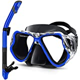 Greatever Dry Snorkel Set,Panoramic Wide View,Anti-Fog Scuba Diving Mask,Easy Breathing and Professional Snorkeling Gear for Adults