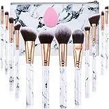 Makeup Brushes Set Start Makers Professional 12Pcs Marble Make Up Brushes Set with Foundation Eyeshadow Eyebrow Brush Make Up Sponge Puff and Cosmetic Bag