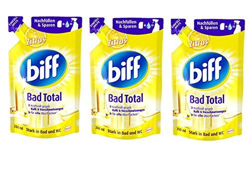 Biff Bad Total Zitrus Badreiniger (für alle Oberflächen, Nachfüllpack) 3er Pack (3 x 250 ml)