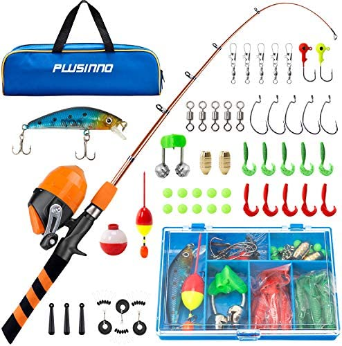 PLUSINNO Kids Fishing Pole Portable Telescopic Fishing Rod and Reel Combo Kit with Spincast product image