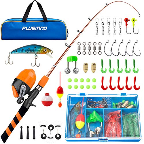 PLUSINNO Kids Fishing Pole, Portable Telescopic Fishing Rod and Reel Combo Kit - with Spincast Fishing Reel Tackle Box for Boys, Girls, Youth ice Fishing