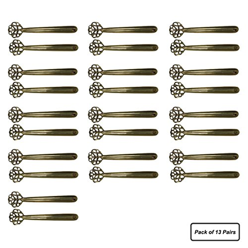 Renovators Supply Manufacturing 13 Pairs Carpet Stair Runner Clip Holders Solid Brass Antique Design