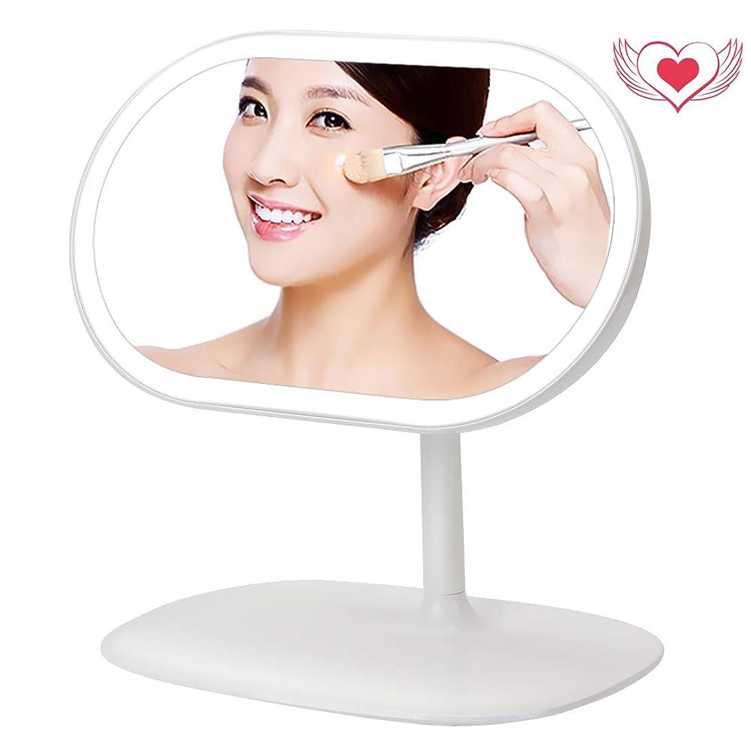 押す前任者凶暴なMANLI 化粧鏡 LED ライト付き 3 in 1 デスクライト USB充電 収納台座 メイクアップ 卓上ミラー 磁気 360度回転 女優ミラー 化粧ミラー