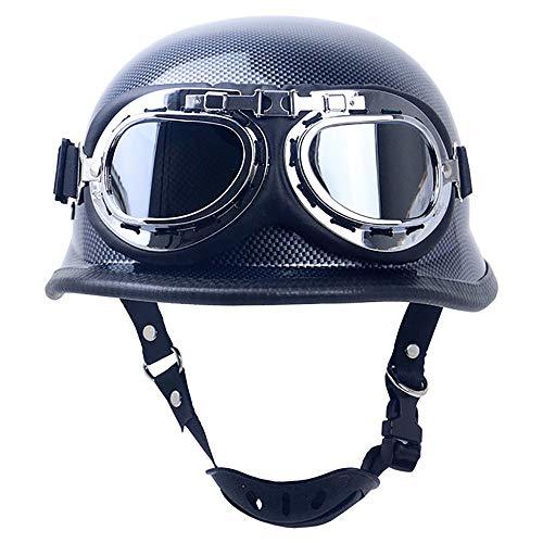 SXC Helme Oldtimer Motorradhelm mit Brille Halber Motorradhelm, Vintage Helme mit Brille Geeignet für Männer und Frauen Motorradhelm Bike Cruiser Scooter, DOT/ECE-Zulassung