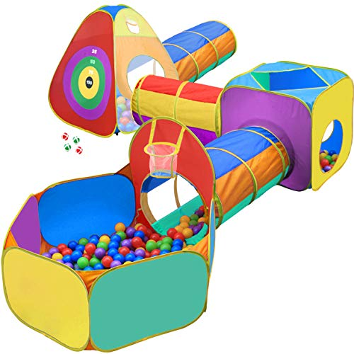 Playz Ball Pit, Play Tent and Tunnels for Kids, Gift for Toddler Boys & Girls, Best Birthday Gift for 1 2 3 4 5 Year old, Pop Up Baby Play Toy, Indoor & Outdoor Use as Portable Play Center Storage Bag