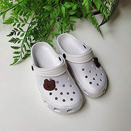 TDYSDYN Zapatillas sin Cordones para Mujer/Hombre,Zapatos de Estudiante Antideslizantes, Sandalias de baño de Dibujos Animados y Zapatillas-Blanco_40-41