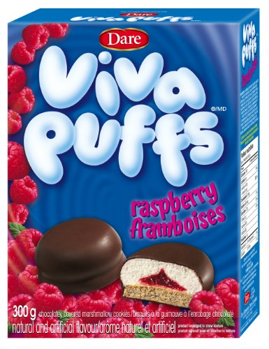Dare Viva Puffs Raspberry - Chocolatey Covered Marshmallow Cookies 300g {Imported From Canada}