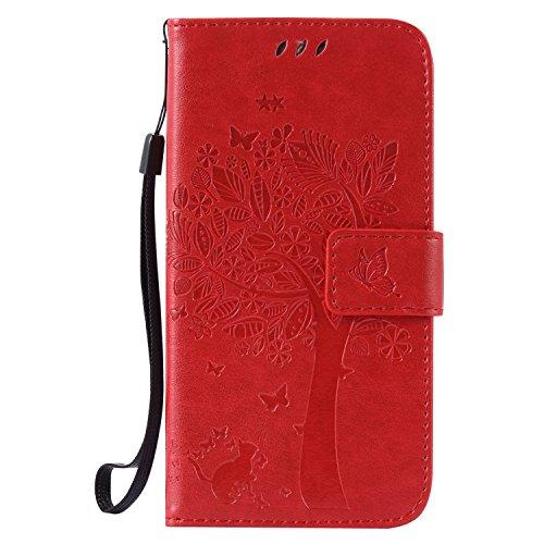 ISAKEN Kompatibel mit Galaxy S5 Hülle, PU Leder Flip Cover Brieftasche Geldbörse Wallet Case Handyhülle Tasche Schutzhülle Etui mit Handschlaufe Strap für Samsung Galaxy S5 Neo - Baum Katze Rot