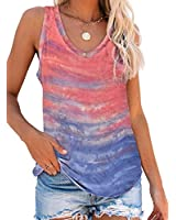 Elapsy Womens Tie Dye Print Sleeveless Scoop Neck Knit Tank Tops Shirts Casual Summer Loose Cami Tank Tops Blouse Orange S