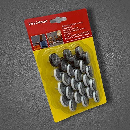 24x Ø24-2mm Filzgleiter für Stuhl, Tisch & Möbelfüsse, Möbelgleiter, Fußbodenschutz, Stuhlbeinkappen mit Nagel
