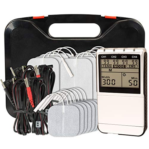 Roscoe Medical TENS Unit and EMS Muscle Stimulator - 4-Channel OTC TENS Machine for Back Pain Relief, Lower Back Pain Relief, Neck Pain, Includes Case, Silver