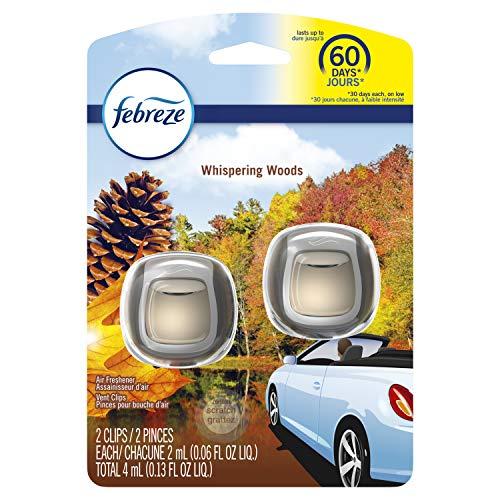 Febreze Car Air Freshener Vent Clips, Whispering Woods, 2 Ct