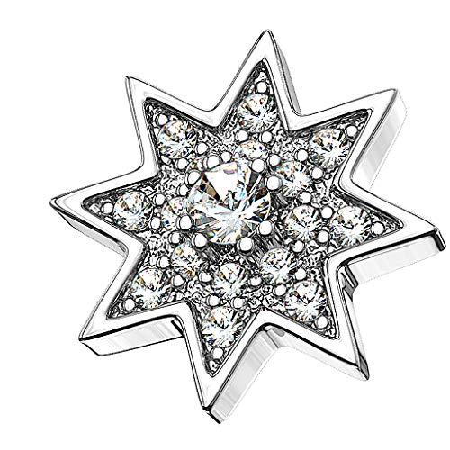 Piersando Aufsatz für Dermal Anchor Piercing Hautanker Implantat Skin Diver Stern Multi Strass Kristalle Silber