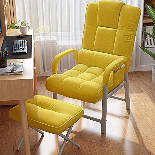WGFGXQ Poolside Lounger,Executive Reclining Computer Desk Chair with Footrest, Gaming Computer Desk Office Swivel Reclining Chair-Yellow