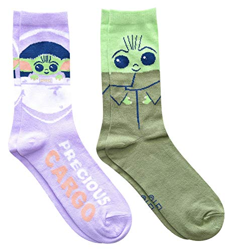 Star Wars Juniors/Ladies Baby Yoda Precious Cargo Crew Socks 2 Pair Pack Size 4-10