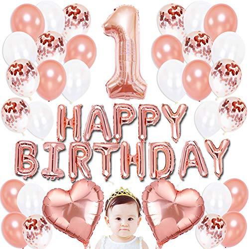 36 Pièces Ballons Anniversaire Rose Gold, Latex Déco Anniversaire 1 an avec Confettis Décoration Anniversaire Happy Birthday Kit Party Soirée Fête pour Bébés Filles