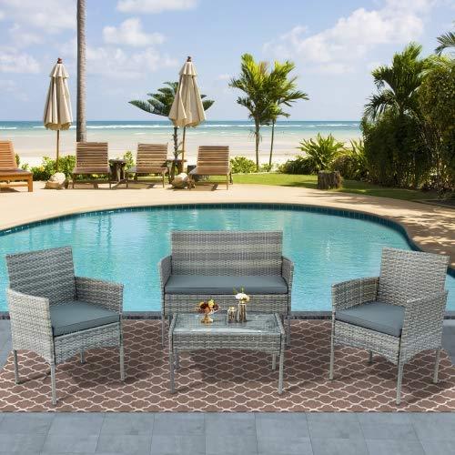 Garten Lounge Set für 4 Personen, Polyrattan Sitzgruppe Balkonmöbel Set Gartenmöbel-Set, 4-teilig, 2 Sessel, Sofa & Tisch, inkl. Sitzkissen für Garten Balkon & Terrasse (Grau)