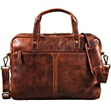 STILORD 'Geralt' Vintage Ledertasche Messenger Bag Aktentasche Umhängetasche Groß 15,6 Zoll Notebooktasche aufsteckbar, Farbe:Kara - Cognac