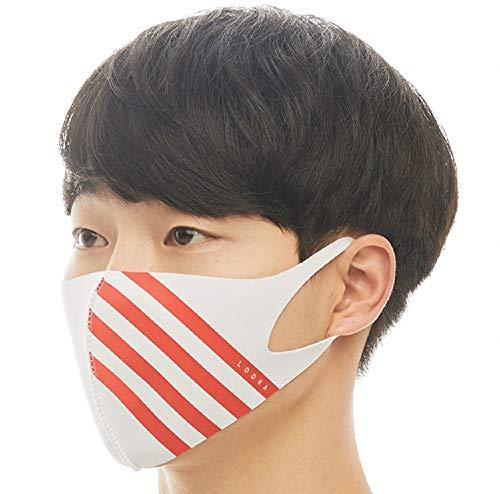 【LOOKA ルカ】アクセント デザイン マスク UV 花粉症 インフルエンザ 対策 繰り返し 洗える 蒸れない 肌荒れしない 個包装 黒 ファッション Mサイズ Sサイズ 男女兼用 (WHITE×4RED) M