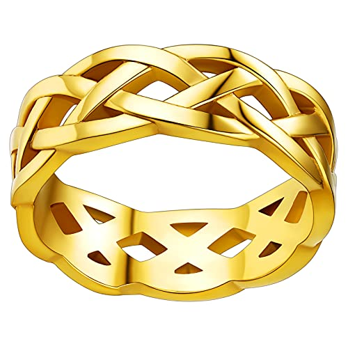 FaithHeart Gold Celtic Knot Rings Men Yellow Golden Plated Stainless Steel Wedding Band Finger Charms Accessory Size 7