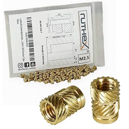 ruthex Gewindeeinsatz M2,5 (70 Stück) - RX-M2,5x5.7 Messing Gewindebuchsen - Einpressmutter für Kunststoffteile - durch Wärme oder Ultraschall in 3D-Druck Teile