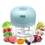 Mini Tritatutto da Cucina Elettrico, 280ML Tritatutto Elettrico Portatile Senza Fili con 4 Lame Affilate Robot da Cucina USB Ricaricabile Tritatutto, per Carne, Verdure, Cipolle e Frutta